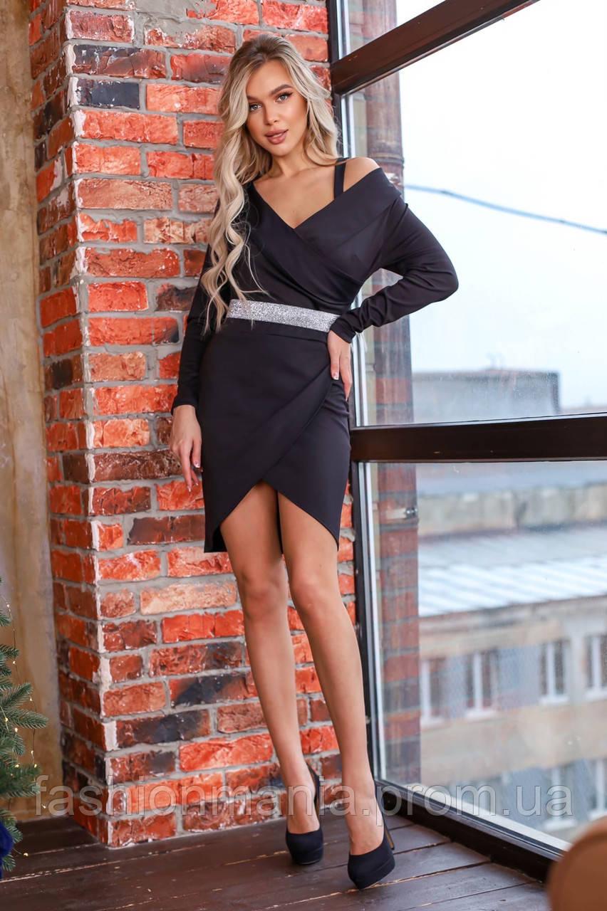 Платье женское нарядное на Новый год чёрное 42-44,46-48