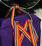 Рюкзак-сумка женский, для девочки канкен фиолетовый радуга Fjallraven Kanken 16 л. с радужными ручками, фото 6