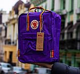 Рюкзак-сумка женский, для девочки канкен фиолетовый радуга Fjallraven Kanken 16 л. с радужными ручками, фото 4