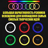Кольцевая лампа для тик тока LED RGB MJ36 (36 см) 3 крепление Разноцветная кольцевая лампа Селфи кольцо RGB, фото 6