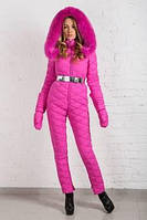 Комбинезон зимний женский ярко розовый, фото 1