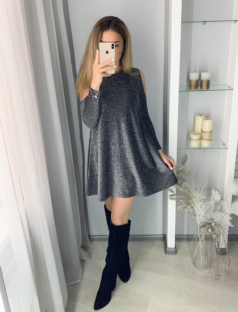 Женское нарядное люрексовое платье