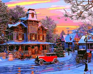Картина по номерам Новогодние сюжеты Зимний пейзаж Праздничный городок 40х50см Babylon Turbo