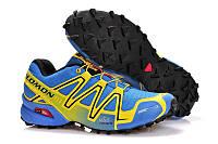 Кроссовки мужские беговые Salomon Speedcross 3 (саломон) сине-желтые