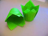 Тарталетки бумажные для кексов, капкейков салатовые тюльпан