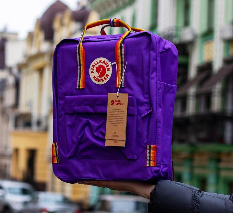 Рюкзак-сумка женский, для девочки канкен фиолетовый радуга Fjallraven Kanken 16 л. с радужными ручками