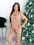 Пижамка женская стильная в горошек чёрный, синий, бежевый, белый 42-44,46-48, фото 5