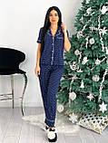 Пижамка женская стильная в горошек чёрный, синий, бежевый, белый 42-44,46-48, фото 8