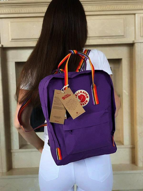 Молодежный женский рюкзак сумка канкен радужный фиолетовый Fjallraven Kanken 16 с радужными ручками