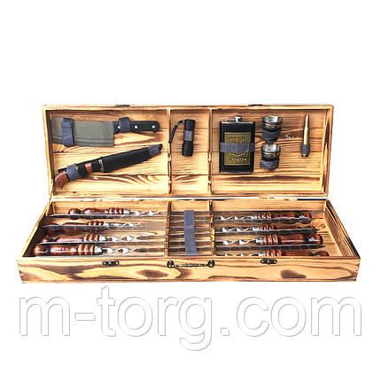 Подарочный набор на 8 шампуров 60 см с деревянной лаковой ручкой, фото 2