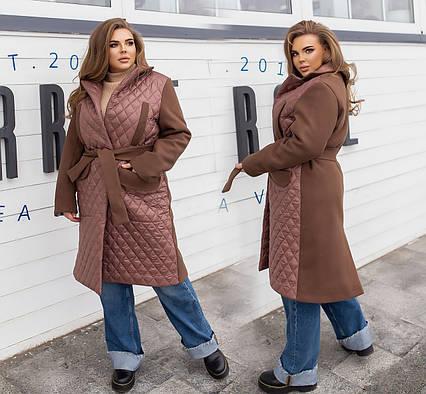 """Женское тёплое пальто в больших размерах 4067 """"Плащёвка Кашемир Запах"""" в расцветках"""
