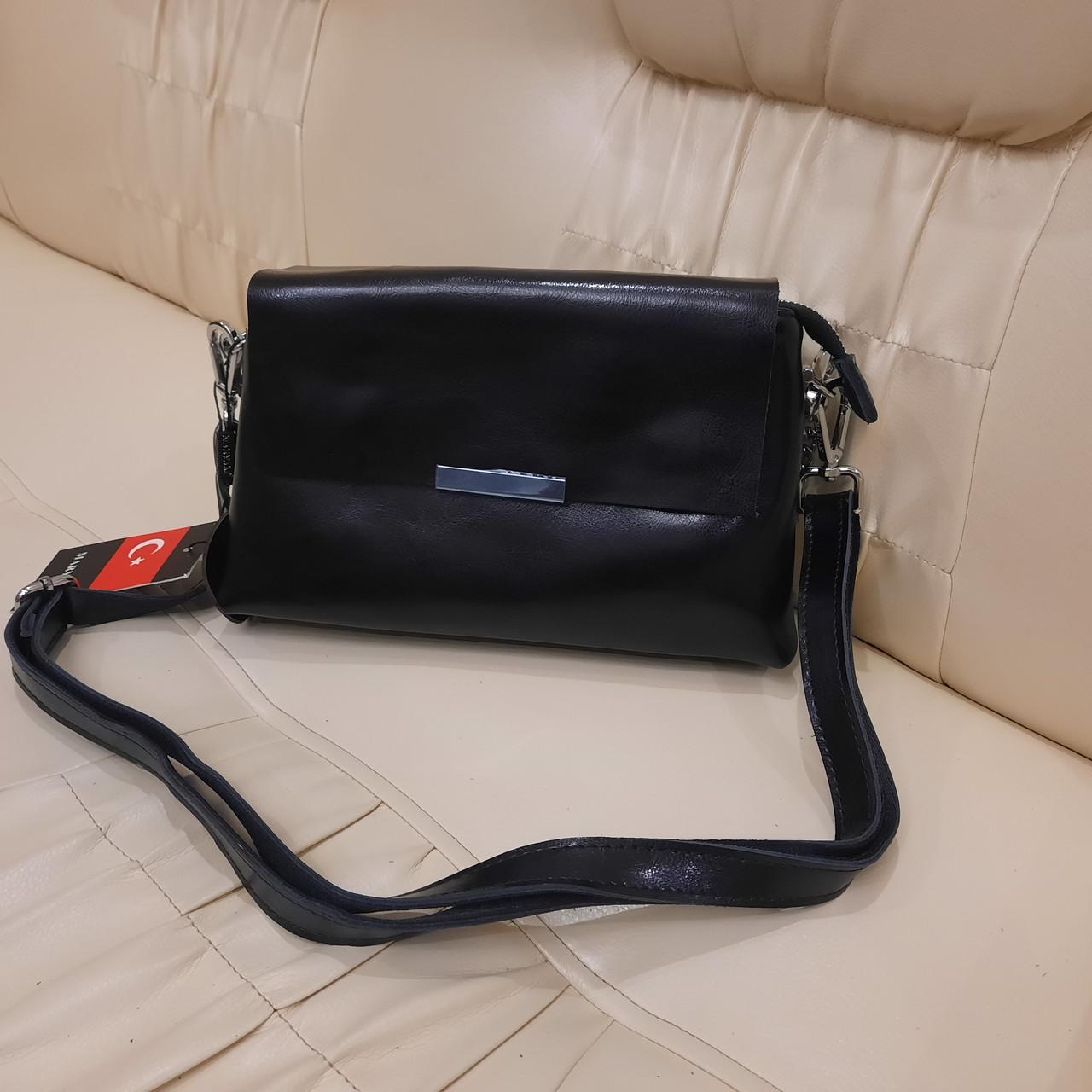 Классический черный женский клатч сумка из натуральной кожи