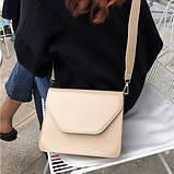 Женская классическая сумочка через плечо кросс-боди на широком ремне бежевая, фото 6