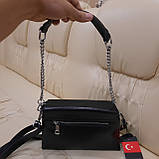 Классический черный женский клатч сумка из натуральной кожи, фото 3