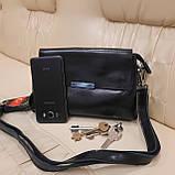 Классический черный женский клатч сумка из натуральной кожи, фото 2