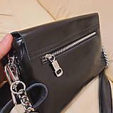 Классический черный женский клатч сумка из натуральной кожи, фото 6