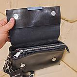 Классический черный женский клатч сумка из натуральной кожи, фото 9