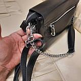 Классический черный женский клатч сумка из натуральной кожи, фото 7