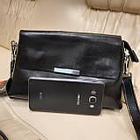 Классический черный женский клатч сумка из натуральной кожи, фото 10