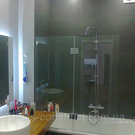 Шторка на ванну стеклянная фронтальная (крепление двери к стеклу)