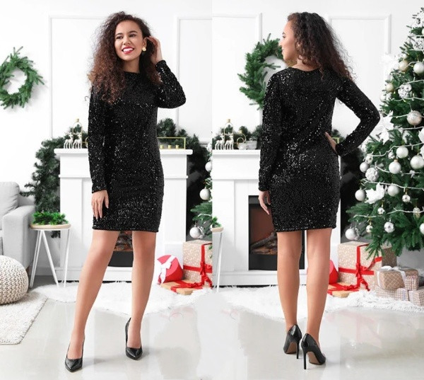 Женское нарядное облегающее платье с пайетками Kerry