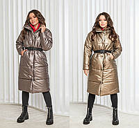 Р 42-48 Кожаное пальто-пуховик с поясом 23242