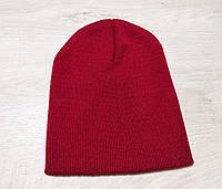Детская подростковая двойная шапка бини чулок удлиненная теплая весенняя деми спортивная шапочка