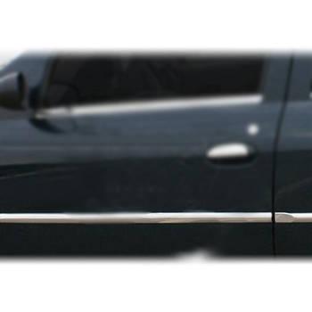 Dacia Logan II 2008-2013 гг. Молдинг дверей (4 шт, нерж.,) OmsaLine - Итальянская нержавейка