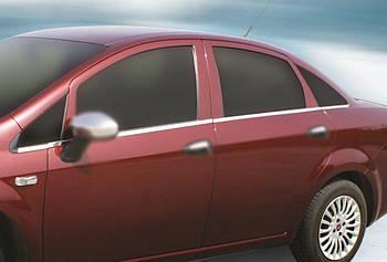 Fiat Linea 2006↗ и 2013↗ гг. Наружняя окантовка стекол (8 част., нерж)