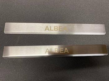 Fiat Albea 2002↗ гг. Накладки на дверные пороги (2 шт, нерж.)
