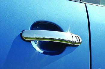 Skoda Octavia A5 2010↗ гг. Накладки на ручки (4 шт, нерж) OmsaLine - Итальянская нержавейка