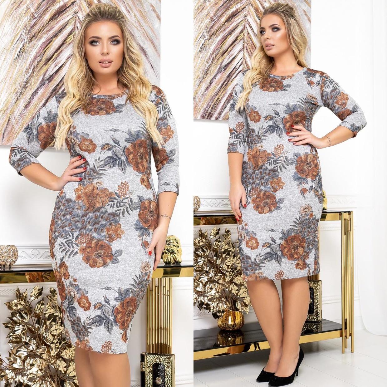 Ангоровое платье в цветок, серый