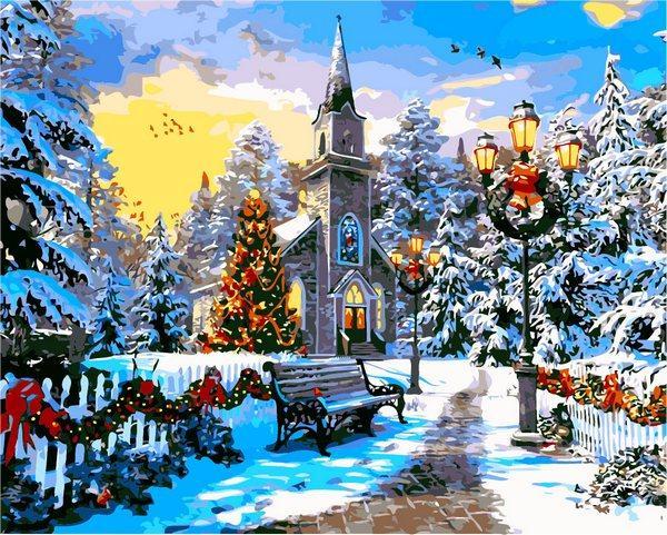 Картина по номерам Новогодние сюжеты Зимний пейзаж Рождественское настроение 40х50см Babylon Turbo