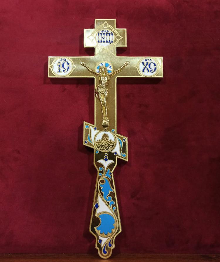 Крест священника требный с эмалью