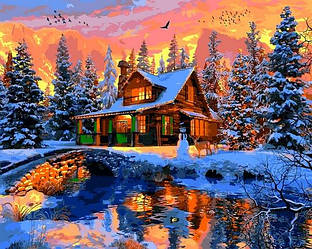 Картина по номерам Новогодние сюжеты Зимний пейзаж Рождество в скалистых горах 40х50см Babylon Turbo