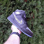 Мужские рефлективные кроссовки Nike Air Jordan 1 Retro High Dior (черные) 10317, фото 3