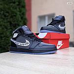 Мужские рефлективные кроссовки Nike Air Jordan 1 Retro High Dior (черные) 10317, фото 2
