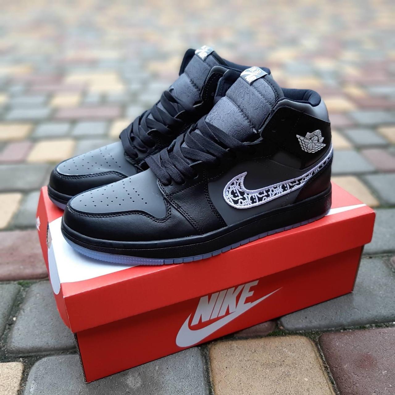 Мужские рефлективные кроссовки Nike Air Jordan 1 Retro High Dior (черные) 10317