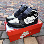 Мужские рефлективные кроссовки Nike Air Jordan 1 Retro High Dior (черные) 10317, фото 7