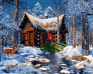 Картина по номерам Новогодние сюжеты Зимний пейзаж Домик в лесу 40х50см Babylon Turbo