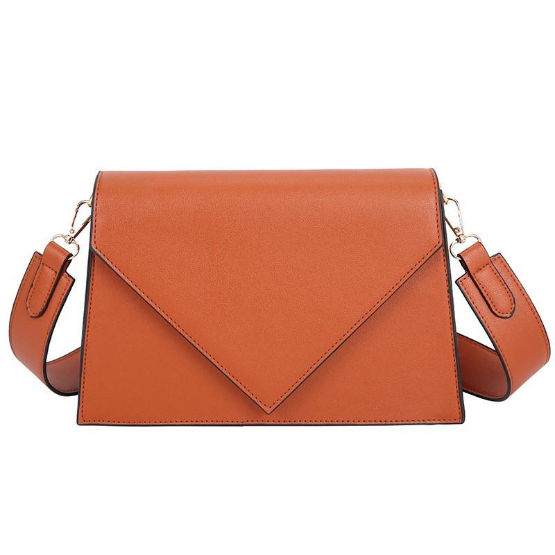 Женская классическая сумка через плечо кросс-боди на ремне рыжая коричневая