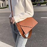 Женская классическая сумка через плечо кросс-боди на ремне рыжая коричневая, фото 10
