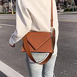 Женская классическая сумка через плечо кросс-боди на ремне рыжая коричневая, фото 2
