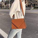 Женская классическая сумка через плечо кросс-боди на ремне рыжая коричневая, фото 9