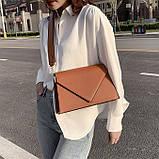 Женская классическая сумка через плечо кросс-боди на ремне рыжая коричневая, фото 4