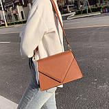 Женская классическая сумка через плечо кросс-боди на ремне рыжая коричневая, фото 7