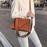 Женская классическая сумка через плечо кросс-боди на ремне рыжая коричневая, фото 5