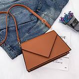 Женская классическая сумка через плечо кросс-боди на ремне рыжая коричневая, фото 6