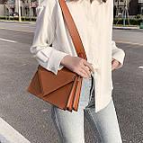 Женская классическая сумка через плечо кросс-боди на ремне рыжая коричневая, фото 8