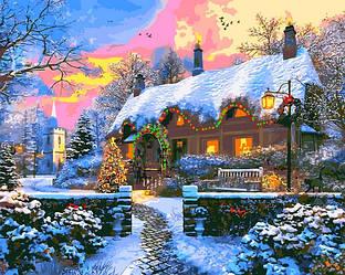 Картина по номерам Новогодние сюжеты Зимний пейзаж Дом на Рождество 40х50см Babylon Turbo